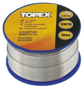TOPEX Lut cynowy 60% Sn, drut 1.0 mm, 100 g - 44E514